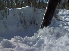 Running feet in close on the snow covered land in sunny day Stock Footage