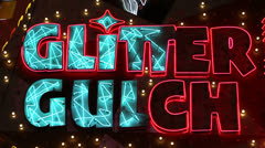 Flashing Neon 'Glitter Gulch' Sign Stock Footage