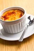 Stock Photo of creme brulee in ceramic bowl