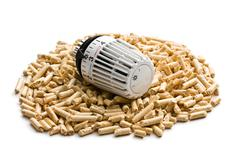 wooden pellets with thermostat - stock photo