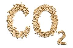 word co2 made of wood pellets - stock photo