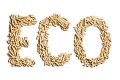 word eco made of wood pellets - stock photo