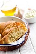 sliced ciabatta bread - stock photo