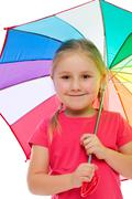 little girl with umbrella. - stock photo