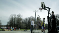 Streetball game timelapse 1 Stock Footage