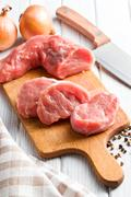 Sliced raw pork meat Stock Photos