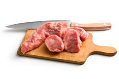 sliced raw pork meat - stock photo