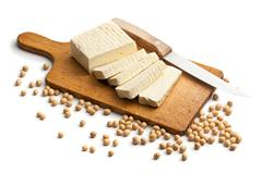 tofu and soy beans - stock photo