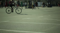 Sport activities in a city park. Blured - stock footage