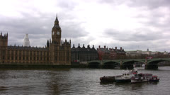 River Thames in London with Big Ben clock tower in background Stock Footage