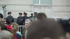 Policemen at the protest manifestation in Moscow Stock Footage