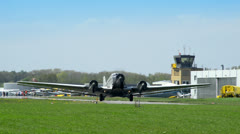 Historic airplane Junkers JU 52 waiting on taxiway 10910 Stock Footage