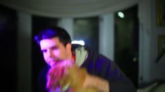 Man petting cat Stock Footage