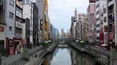 Dotonbori canal, Osaka, Japan Stock Footage
