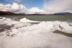 ice-break at lake laberge, yukon territory, canada - stock photo