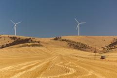 Rural landscape with wind generators distorted by hot air. south australia Stock Photos