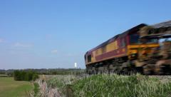 EWS English Welsh Scottish diesel locomotive hauled freight train Stock Footage