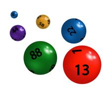 Coloured plastic spheres for lottery Stock Illustration