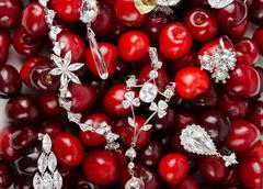 jewels at cherries - stock photo