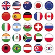 Set of Round Flags world top states - stock illustration