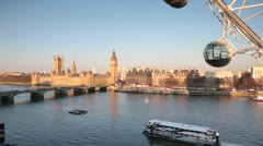 London Eye Houses of Parliament London Stock Footage