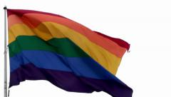 Waving rainbow flag of LGBT people (Castro, San Francisco) Stock Footage