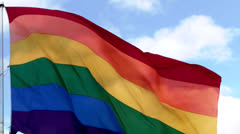 Waving rainbow flag of LGBT people (Castro, San Francisco) - stock footage