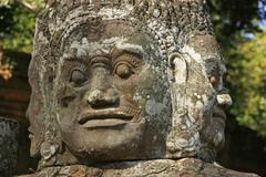 Close up of statue, victory gate bridge, angkor thom Stock Photos