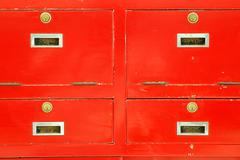 Four cabinet red lock Stock Photos