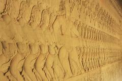 Wall bas-relief, angkor wat temple Stock Photos