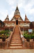staircase to buddhism in pagoda ayutthaya , thailand - stock photo