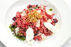 beetroot risotto - stock photo