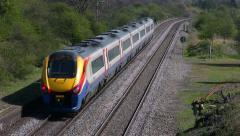 East Midlands Meridian diesel unit passenger train heading south Stock Footage