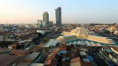 PHNOM PENH CENTRAL MARKET PANNING - stock footage