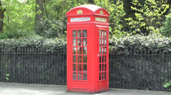 A London red telephone box, London, UK. Stock Footage