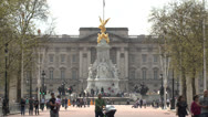 Stock Video Footage of View from the Mall towards Buckingham Palace, London, UK.
