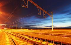 Railroad at dusk Stock Photos