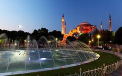 Hagia sofia with reflection - isntanbul, turkey Stock Photos