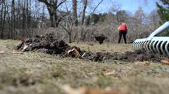 Rake tool level molehill soil spring garden meadow woman working Stock Footage