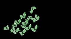 Floating Cartoon Money ALPHA Stock Footage