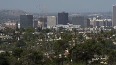 Looking out at city from vista Stock Footage