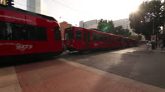 SAN DIEGO TROLLEY DOWNTOWN - stock footage