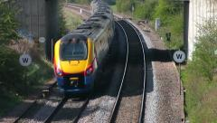 East Midlands Meridian diesel unit passenger train heading north Stock Footage