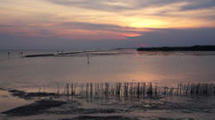 Seascape sunset with clouds timelapse. - stock footage