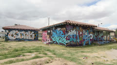 Houses Covered in Grafitti in Las Vegas Arts District - stock footage