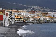 Town and beach of Candelaria at Tenerife Stock Photos