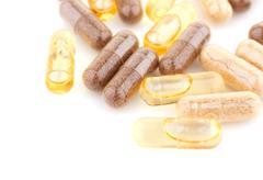 Vitamin supplement capsules Stock Photos