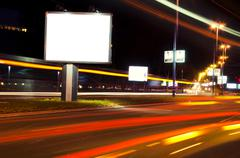 night billboard - stock photo