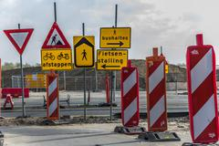 Many traffic signs Stock Photos