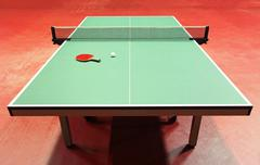 quipment for table tennis - racket, ball, table - stock photo